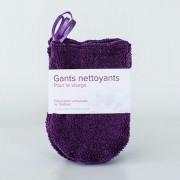 Gants nettoyants pour le visage en coton biologique